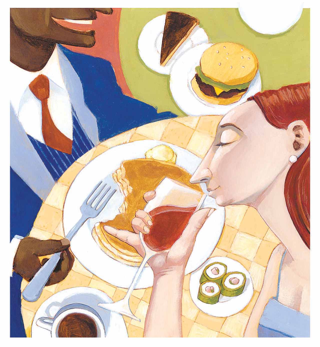 Illustration of two people eating dinnner with a variety of different dishes on the tables.