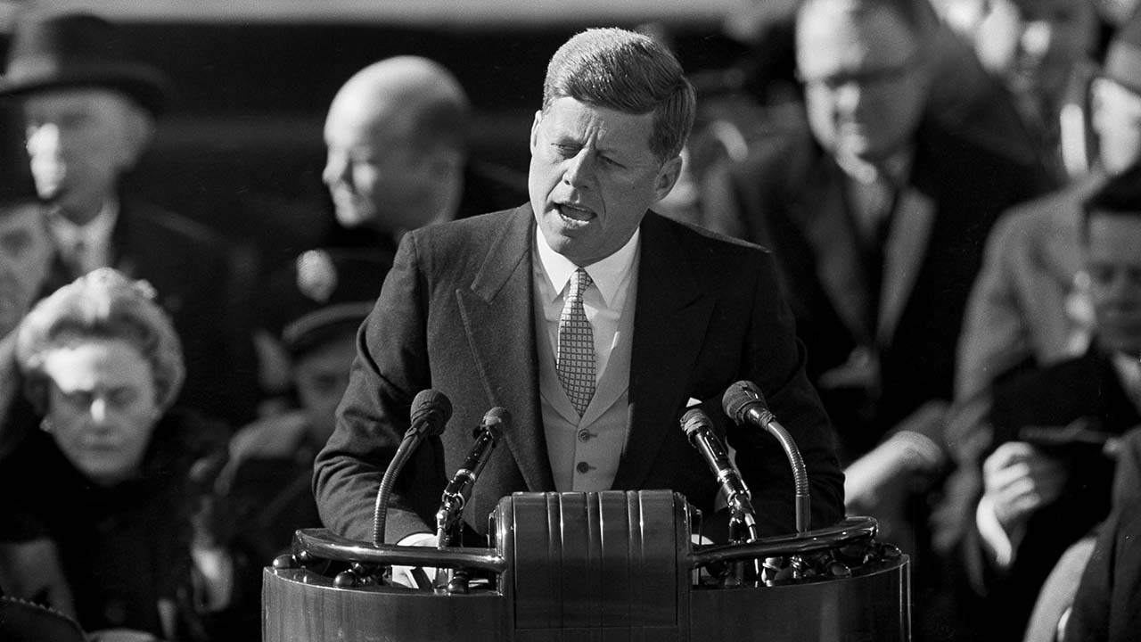 President Kennedy delivering his inaugural address