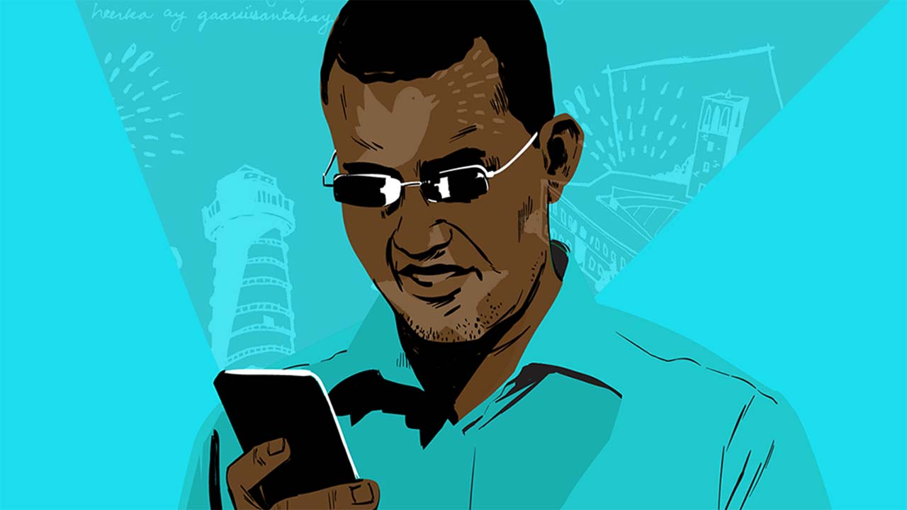 Illustration of a Somali man reading online content on his phone.