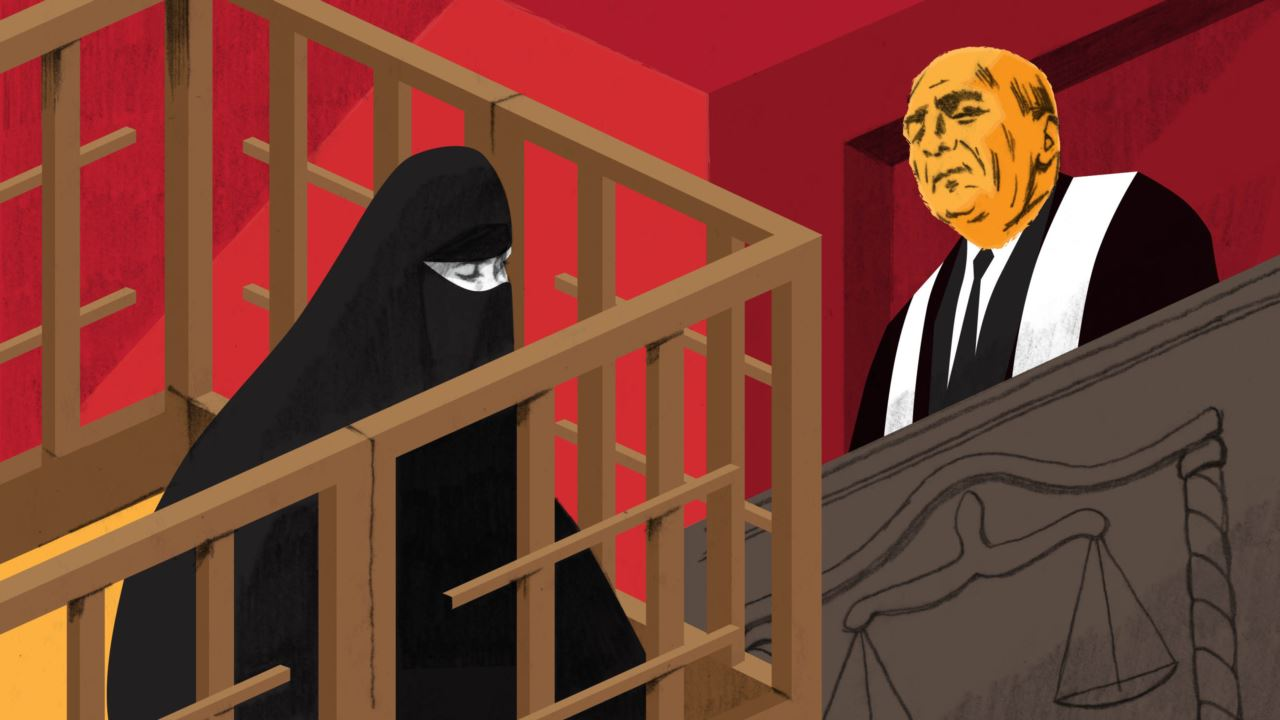 Illustration of a wife of an ISIS fighter standing trial in Iraq for supporting Islamic State.