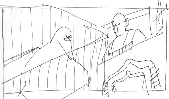 Illustration showing a woman wearing a niqab inside a cage in an Iraqi courtroom in front of a judge.