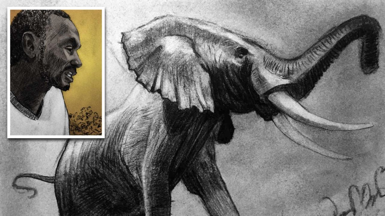 A series of comic book panels. A charcoal portrait of a poacher inset inside of a drawing of an elephant.
