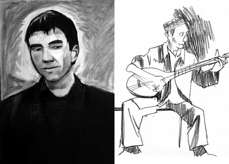Left: Charcoal portrait of Nurmuhemmet Yasin. Right: Pencil drawing of a Uyghur man playing a stringed instrument.